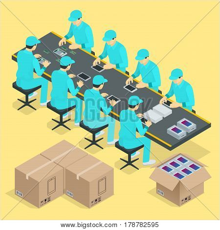 Factory Manual assembly line with works and conveyor belt controlled manufacturing process isometric poster vector illustration.