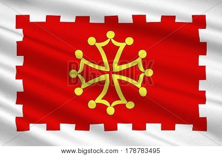 Flag of Aude is a department in south-central France. 3d illustration
