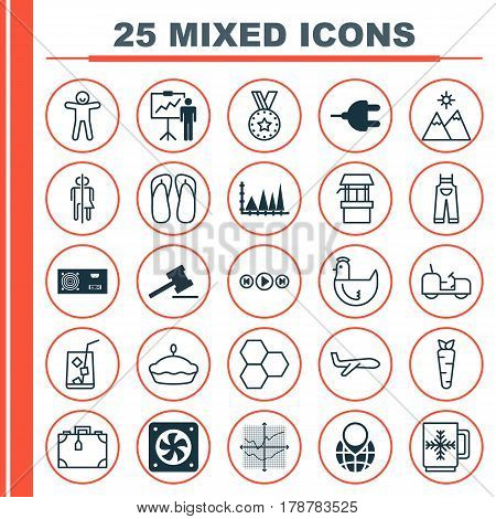 Set Of 25 Universal Editable Icons. Can Be Used For Web, Mobile And App Design. Includes Elements Such As Information Components, Medal, Connector And More.