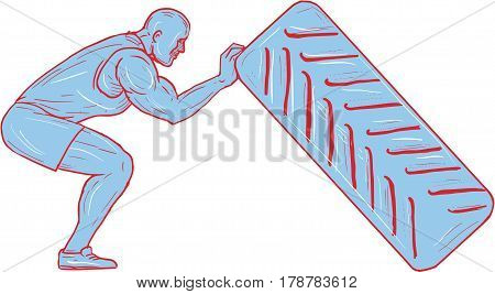 Drawing sketch style illustration of an athlete working out knees bent pushing back tire viewed from the side set on isolated white background.