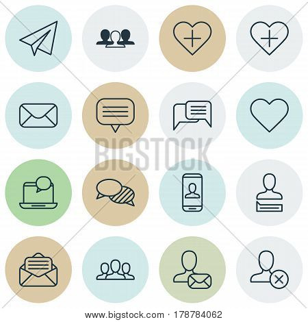 Set Of 16 Social Network Icons. Includes Text Bubble, Group, Favorite Person And Other Symbols. Beautiful Design Elements.