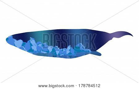 Cachalot or sperm whale silhouette template with arctic night sky landscape inside isolated vector illustration