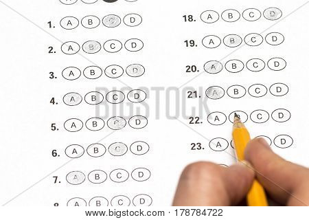 Hand Fill In Exam Papers Sheet And Pencil