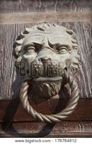Architectural detail of a lion's head