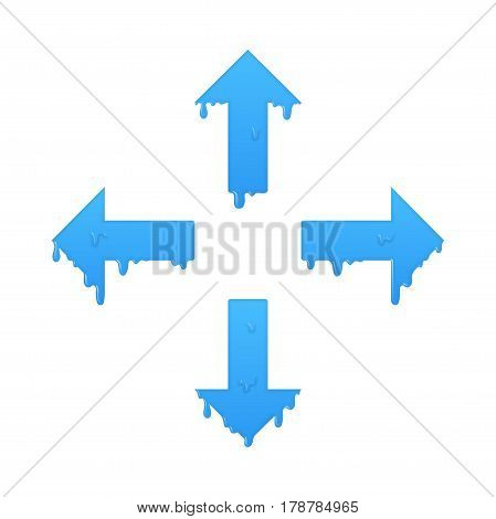 Melting navigation arrows set. Left, right, up and down symbol illustration