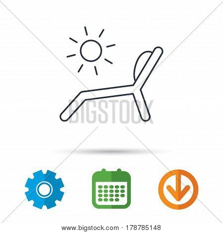 Deck chair icon. Beach chaise longue sign. Calendar, cogwheel and download arrow signs. Colored flat web icons. Vector
