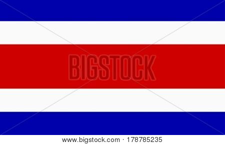 flat costa rican flag in the colors blue, white and red