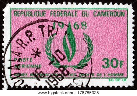 CAMEROON - CIRCA 1968: a stamp printed in Cameroon shows Human Rights Flame circa 1968