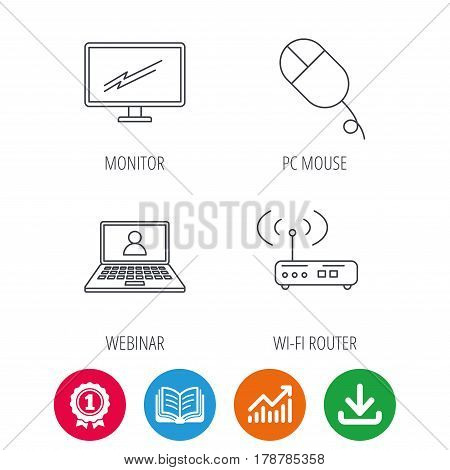 Wi-fi router, pc mouse and monitor tv icons. Webinar linear sign. Award medal, growth chart and opened book web icons. Download arrow. Vector