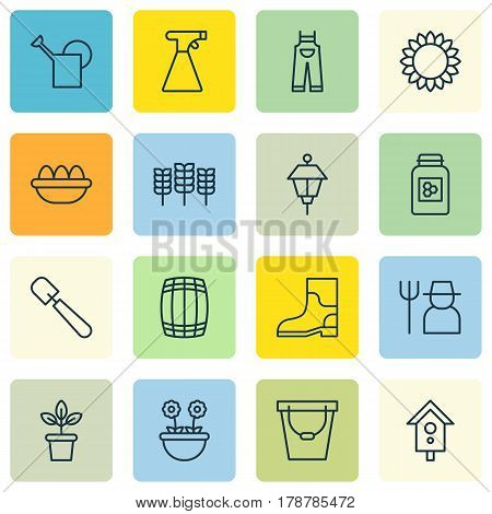 Set Of 16 Plant Icons. Includes Flowerpot, Helianthus, Birdhouse And Other Symbols. Beautiful Design Elements.