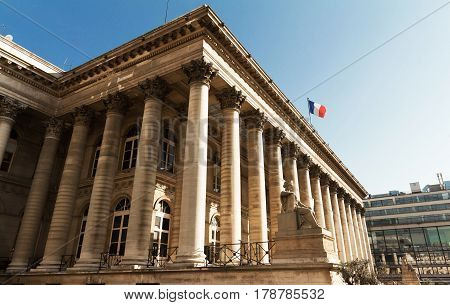 The Bourse of Paris located in Brongniart palace in the 2nd arrondissement of Paris France.