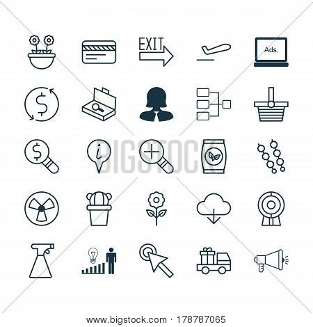 Set Of 25 Universal Editable Icons. Can Be Used For Web, Mobile And App Design. Includes Elements Such As Grains, Stick Batbecue, Business Inspection And More.