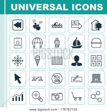 Set Of 25 Universal Editable Icons. Can Be Used For Web, Mobile And App Design. Includes Elements Such As Skydive, Snow, Publication And More.