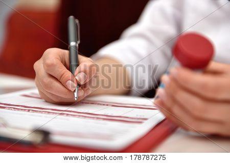 Woman Writes Indicators Chemical Sample