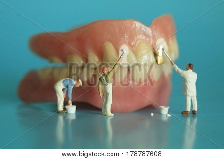 Hilarious Miniature Workers Performing Dental Procedures. Dental Office Art.