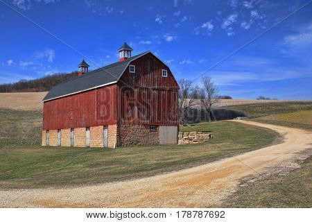 Red Barn in the Countryside Iowa, USA