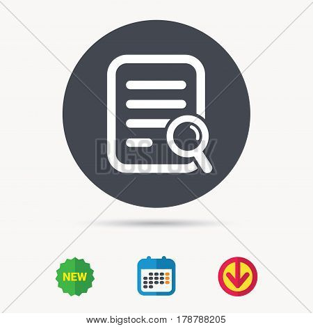 File search icon. Document page with magnifier tool symbol. Calendar, download arrow and new tag signs. Colored flat web icons. Vector