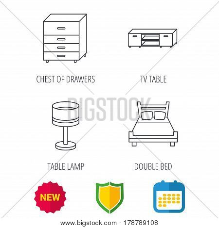 Double bed, table lamp and TV table icons. Chest of drawers linear sign. Shield protection, calendar and new tag web icons. Vector