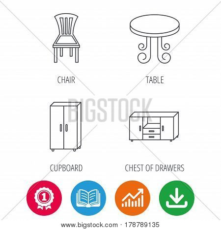 Chair, table and cupboard icons. Chest of drawers linear sign. Award medal, growth chart and opened book web icons. Download arrow. Vector
