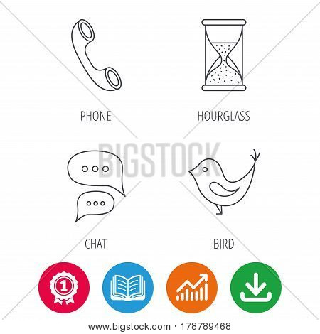 Chat, bird and phone call icons. Hourglass linear sign. Award medal, growth chart and opened book web icons. Download arrow. Vector