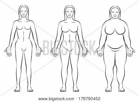Female body constitution types - thin, normal weight and fat figure of a woman - ectomorph, mesomorph and endomorph - isolated outline vector illustration of three women with different anatomy.