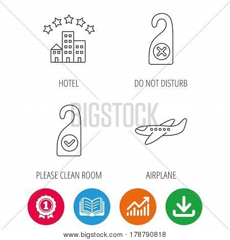 Hotel, airplane and clean room icons. Do not disturb linear sign. Award medal, growth chart and opened book web icons. Download arrow. Vector