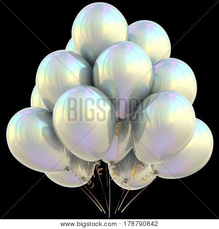 Balloons white happy birthday party decoration bright silver glossy. 3D illustration isolated on black