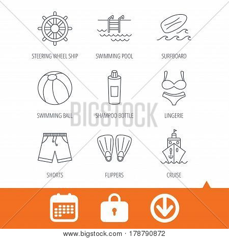 Surfboard, swimming pool and trunks icons. Beach ball, lingerie and shorts linear signs. Flippers, cruise ship and shampoo icons. Download arrow, locker and calendar web icons. Vector