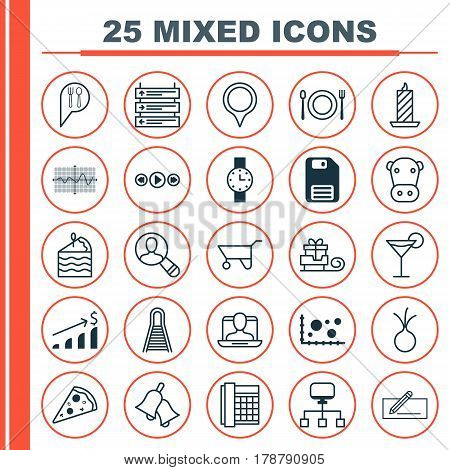 Set Of 25 Universal Editable Icons. Can Be Used For Web, Mobile And App Design. Includes Elements Such As Music Control, Garlic, Ringer And More.
