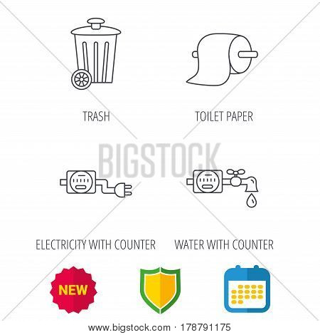 Trash bin, electricity and water counter icons. Toiler paper linear sign. Shield protection, calendar and new tag web icons. Vector