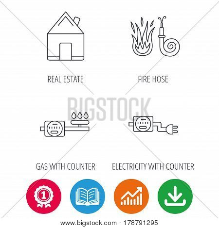 Real estate, fire hose and gas counter icons. Electricity counter linear sign. Award medal, growth chart and opened book web icons. Download arrow. Vector