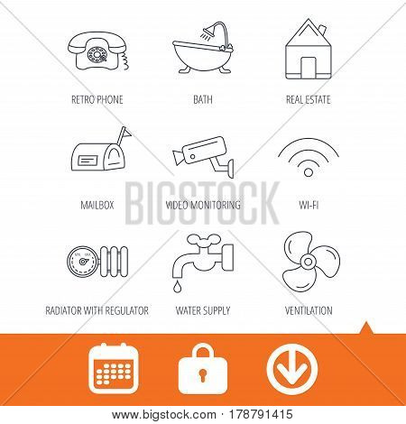 Wifi, video camera and mailbox icons. Real estate, bath and water supply linear signs. Radiator with heat regulator, phone icons. Download arrow, locker and calendar web icons. Vector