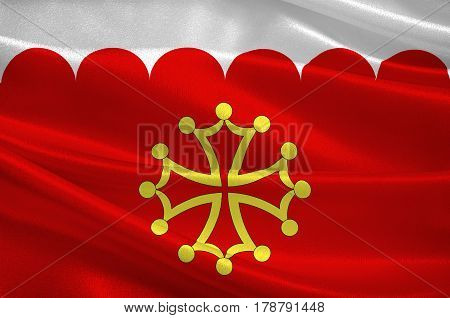 Flag of Gard is a department in southern France in the Occitanie region. 3d illustration