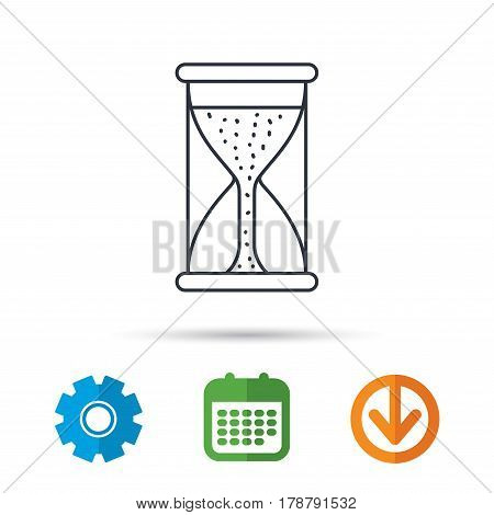 Hourglass icon. Sand time starting sign. Calendar, cogwheel and download arrow signs. Colored flat web icons. Vector