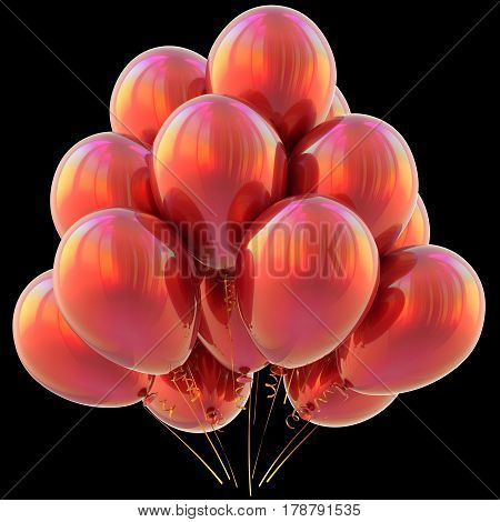 Balloons red happy birthday party decoration glossy scarlet. 3D illustration isolated on black