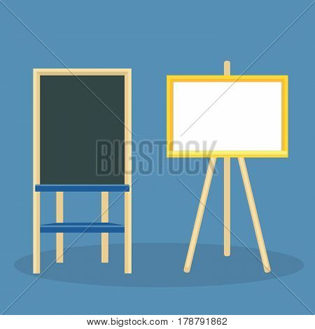 Wooden easel with blank canvas. Board for drawing and recording business ideas with crayons or a marker. Vector illustration isolated on color background