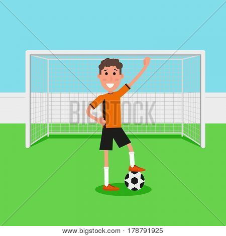 Soccer goalkeeper keeping goal on arena, Athlete with a soccer ball. Flat character in cartoon style. Vector illustration