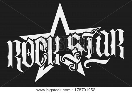 Rock Star lettering print for card, poster or t-shirt, hipster retro badge. Vector