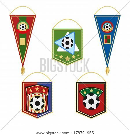 Soccer pennants set. Football flag emblem. Vector illustration in flat style isolated on white background