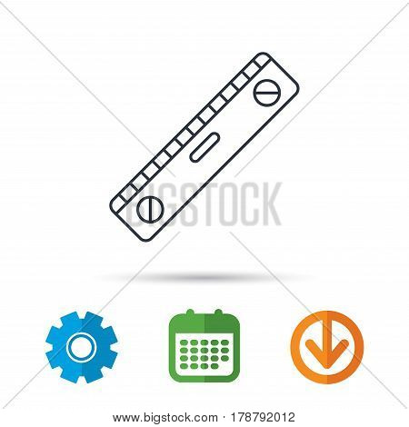 Level tool icon. Horizontal measurement sign. Calendar, cogwheel and download arrow signs. Colored flat web icons. Vector