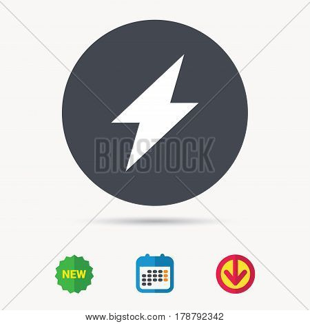 Lightning icon. Electricity energy power symbol. Calendar, download arrow and new tag signs. Colored flat web icons. Vector