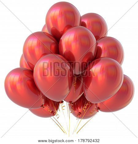 Balloons red happy birthday party decoration scarlet glossy. 3D illustration isolated