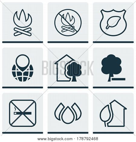 Set Of 9 Eco-Friendly Icons. Includes Cigarette, Delete Woods, Guard Tree And Other Symbols. Beautiful Design Elements.