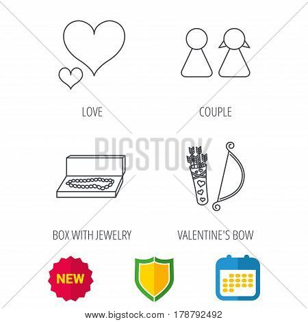 Love heart, jewelry and couple icons. Valentine amour arrows linear signs. Shield protection, calendar and new tag web icons. Vector