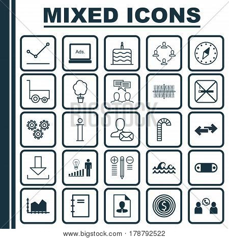 Set Of 25 Universal Editable Icons. Can Be Used For Web, Mobile And App Design. Includes Elements Such As Lollipop, Navigation Arrows, Discussion And More.