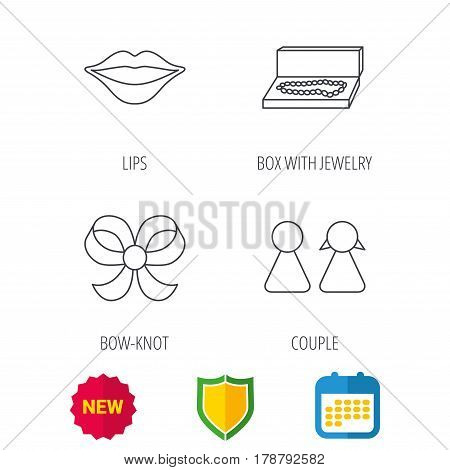 Lips, box with jewelry and couple icons. Bow-knot linear sign. Shield protection, calendar and new tag web icons. Vector