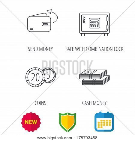 Coins, cash money and wallet icons. Safe box, send money linear signs. Shield protection, calendar and new tag web icons. Vector