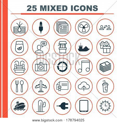 Set Of 25 Universal Editable Icons. Can Be Used For Web, Mobile And App Design. Includes Elements Such As Website Bookmarks, Distributed Pie Chart, Cactus And More.