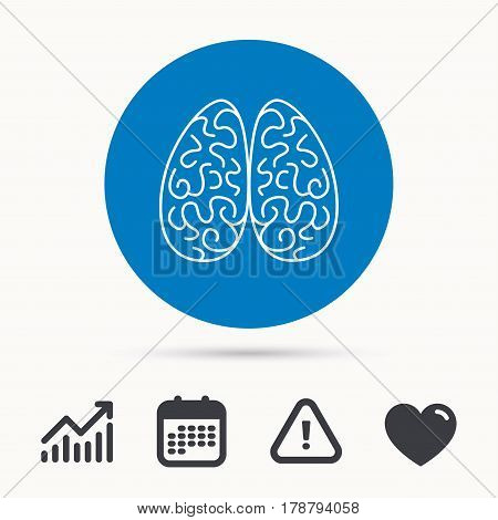 Neurology icon. Human brain sign. Calendar, attention sign and growth chart. Button with web icon. Vector