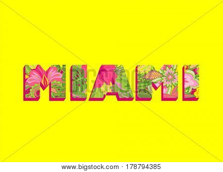 Poster with Miami floral colorful lettering